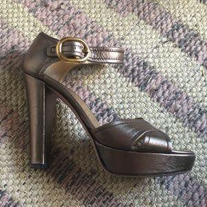 Prada Metallic Platform Sandal Heels Euro 37.5
